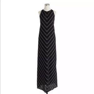 JCrew black and white 100% linen maxi dress